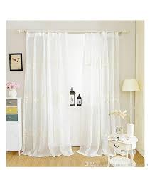 Linen Voile Curtain Fabric Cotton Linen White Cream Floral Embroidered Voile Bay Window Sheer