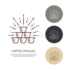 el café encapsula la línea icono del vector logotipo linear del
