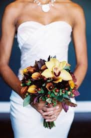 Autumn Wedding Flowers - fall wedding bouquet with orchid