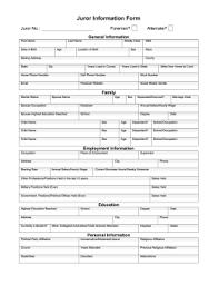 printable juror information form legal pleading template