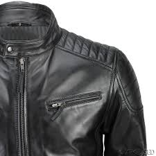 mens leather biker jacket mens new real leather fitted black tan brown retro zip smart