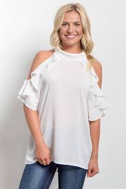 white high neck ruffle cold shoulder top