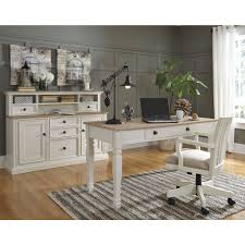 White Desk With Hutch by Ashley Furniture Sarvanny Home Office Desk Set In Two Tone Local