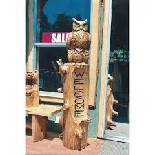 chainsaw carved wooden owl