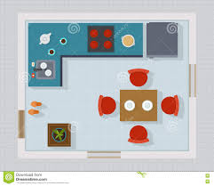kitchen with furniture set top view stock vector image 74132044