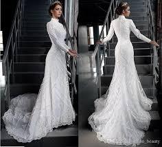 discount vintage modest muslim wedding dresses applique lace