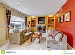 Cozy Livingroom Cozy Living Room With Contrast Color Walls Stock Photo Image