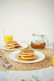 simply scratch toasted cornmeal pancakes with honey butter maple