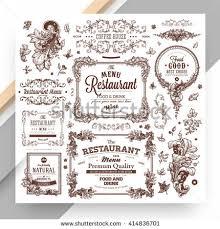 retro set labels restaurant menu design stock vector 143704429
