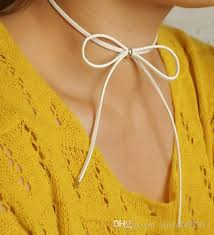 leather bow necklace images 2018 new korean designs women fashion jewelry black leather bow jpg