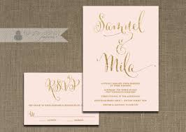 blush pink and gold wedding invitation rsvp 2 suite