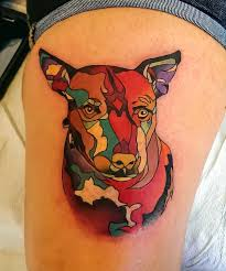 abstract dog portrait adam sky rose gold u0027s tattoo san francisco