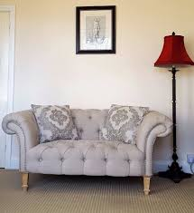 Chesterfield Style Sofa by Buttoned Chesterfield Style Sofa Linen Mix Fabric Silver