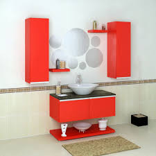 elegant black and red bathroom style decors with porcelain