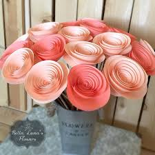 wedding home decor paper flowers stemmed peach coral salmon wedding home