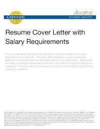 Examples Of Cover Letters For Resumes Sample Cover Letter With Salary History Image Collections Cover