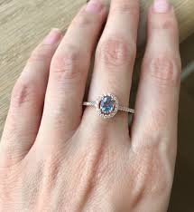 blue rose rings images Oval blue sapphire rose gold ring sapphire halo engagement ring jpg