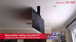 Motorized Ceiling Mount Tv by Retractable Ceiling Mounted Tv Youtube