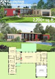 One Level Home Floor Plans Plan 69619am 3 Bed Modern House Plan With Open Concept Layout