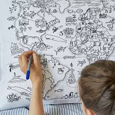 World Map Duvet Cover Uk by World Map Pillowcase Colour And Learn By Eatsleepdoodle