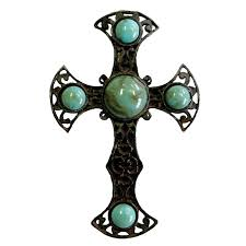 Crosses Home Decor Elegant Turquoise And Rusted Metal Cross Napkin Rings Set Of 4