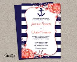nautical wedding invitations nautical wedding invitation printable navy blue and coral