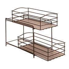 Baskets For Kitchen Cabinets Seville Classics 2 Tier Sliding Basket Kitchen Cabinet Organizer