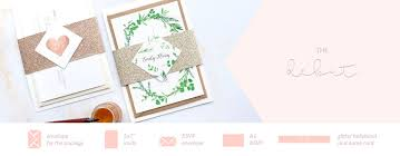 Wedding Invitation Bundles Wedding Invitation Packages With Gold Glitter Bellyband U2013 Blush