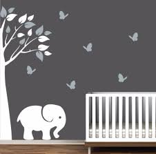 stickers muraux chambre fille ado nursery decal with corner tree elephant and butterflies du toit