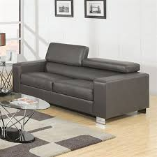 Modern Faux Leather Sofa Shop Furniture Of America Makri Modern Grey Faux Leather Sofa At