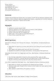 Resume Objective For Warehouse Worker Warehouse Worker Resume Sample 20 596842 Warehouse Worker Resume