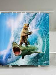 3d shark bear firing shower curtain blue w71 inch l79 inch