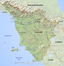 Liguria Italy Map by Tuscany Physical Map