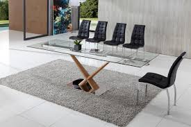 Glass Extendable Dining Table And 6 Chairs Extendable Glass Dining Table Set Axel Extending Glass