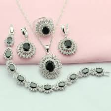 black neck from necklace images 2018 black stone jewelry sets for women silver plated jewelry jpg