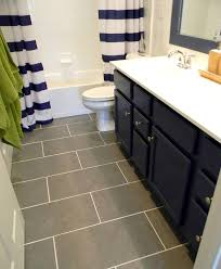Nautical Bathroom Designs I Like The Curtain Blue Cabinet And Gray Floor Tiles Cool Navy