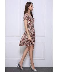 summer stylish a line floral print short wedding guest dresses