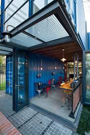 coffee shop and showroom built with shipping containers interior