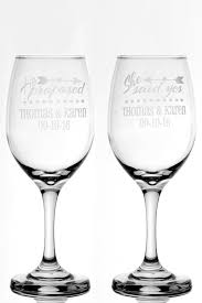 Wedding Gift Glasses Personalized Engagement Gift He Proposed She Said Yes 13 Oz Wine