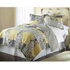 full queen cotton patchwork quilt set yellow grey navy