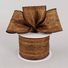 copper ribbon 2 5 multi stripe glitter ribbon chocolate copper 10 yards
