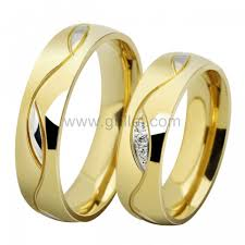 titanium gold rings images Gold plated titanium wedding bands with names personalized couples jpg