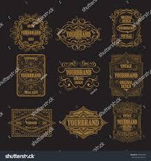 set antique labels vintage frame design stock vector 495707608