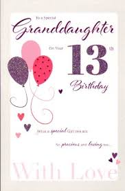 for a special granddaughter on your 13th birthday card pink