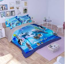 Fish Duvet Cover 3d Dolphins Penguin Fish Scene Ocean Sea Duvet Cover Pillowcase