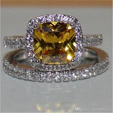 topaz gemstone rings images 2018 fashion 3ct princess cut yellow topaz gemstone rings set 2 in jpg