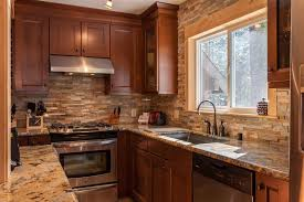 backsplash for brown cabinets 23 small galley kitchens design