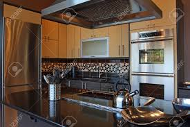 modern luxury kitchen modern luxury kitchen with stainless and granite stock photo
