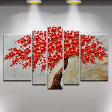 5 piece canvas wall art hand painted palette knife oil modern abstract palette knife oil painting tree 5 pieces handpainted