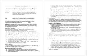 commission sales agreement template microsoft word templates